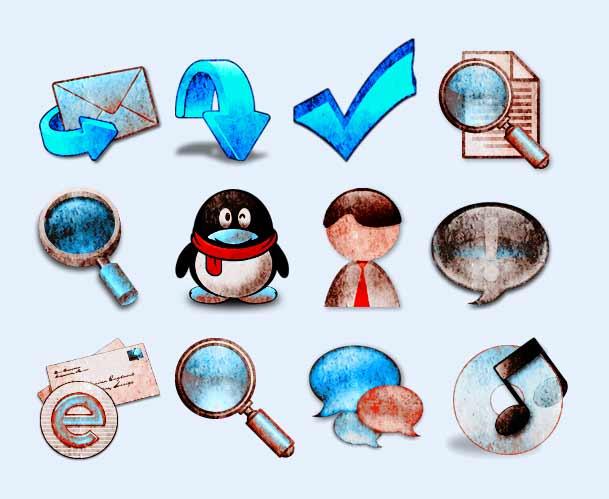 常用 放大镜 腾讯 ie浏览器 用户 头像 对勾 箭头 系统设置 系统图标