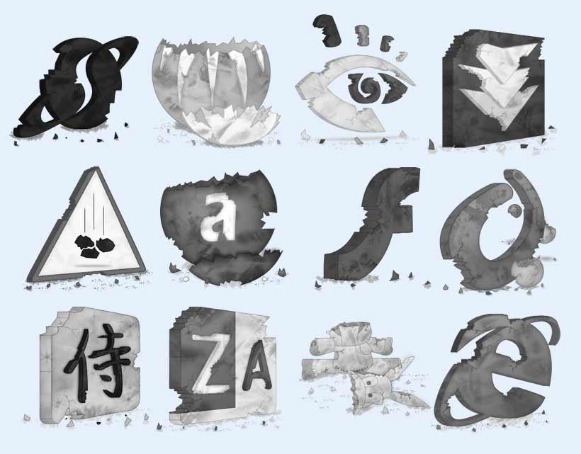 创意图标 手绘设计 眼睛 字母 浏览器 水墨 毛笔 垃圾桶 显示器 系统