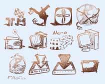 素描風格的收音機圖標PNG圖片素材