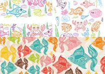 手绘的海洋生物矢量背景素材