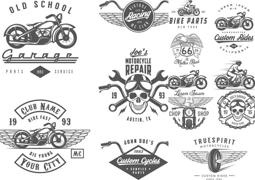 轮胎骷髅翅膀轮胎摩托车交通工具交通工具现代科技黑白图标徽章标志
