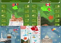 世界各国建筑插画图标矢量素材
