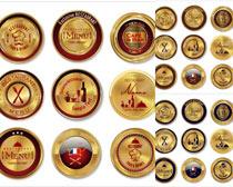 金色的圆形徽章设计矢量素材