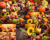 南瓜与水果摄影高清图片
