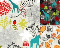 长颈鹿和植物果子底纹背景矢量素材