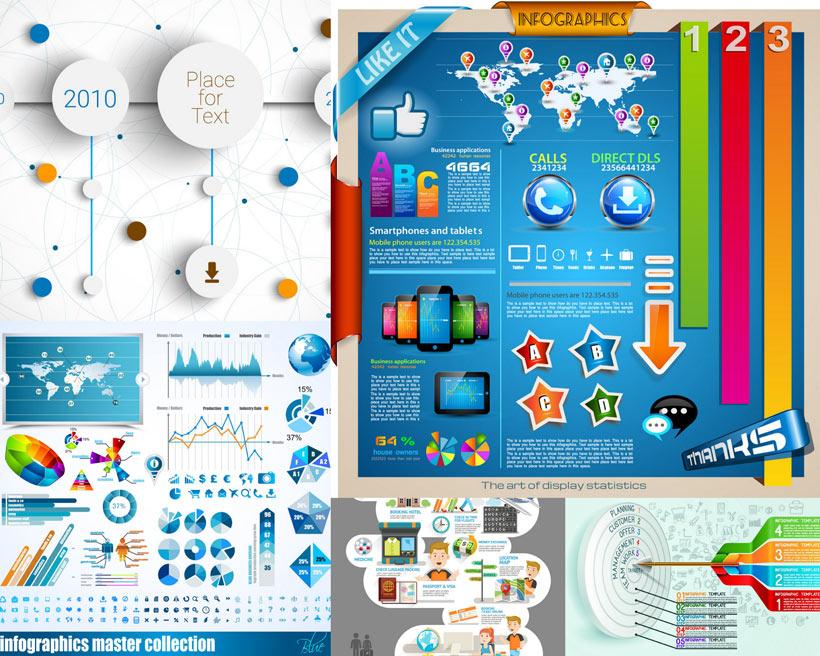 信息图标和商务金融矢量素材
