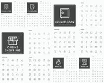 细线照片和购物图标矢量素材