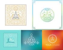花纹瑜伽标志矢量素材