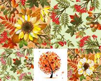 秋天的树叶背景设计矢量素材