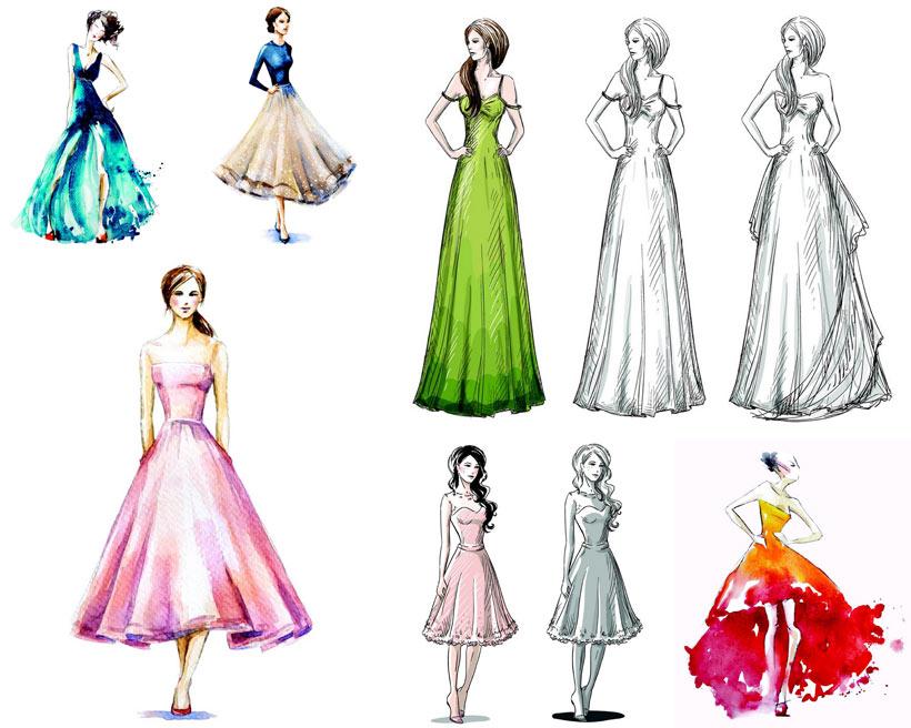 手绘服装设计矢量素材