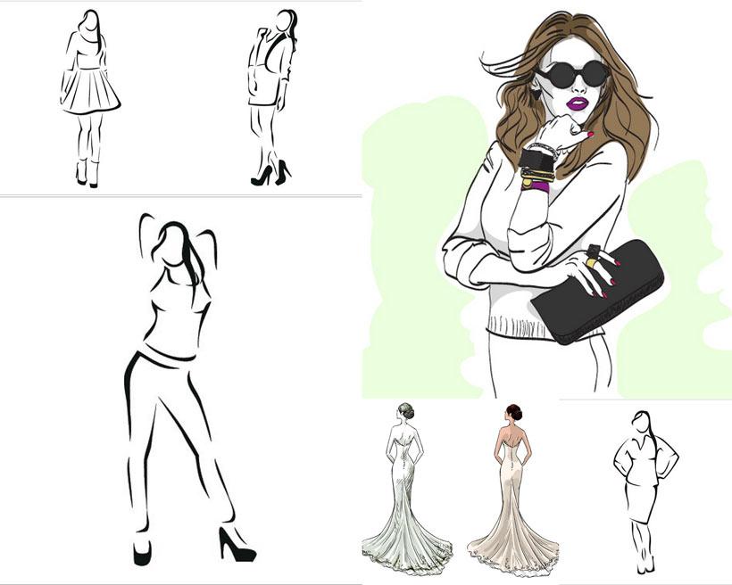 卡通人物手绘美女女人人物矢量人物卡通人物人物素材女性女人线条设计