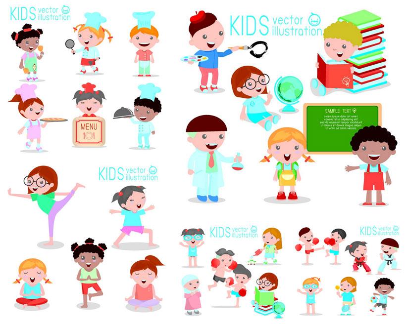 卡通厨师和女孩矢量素材图片