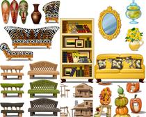 贵妃椅和花瓶家具矢量素材