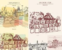 城市风景插画建筑矢量素材
