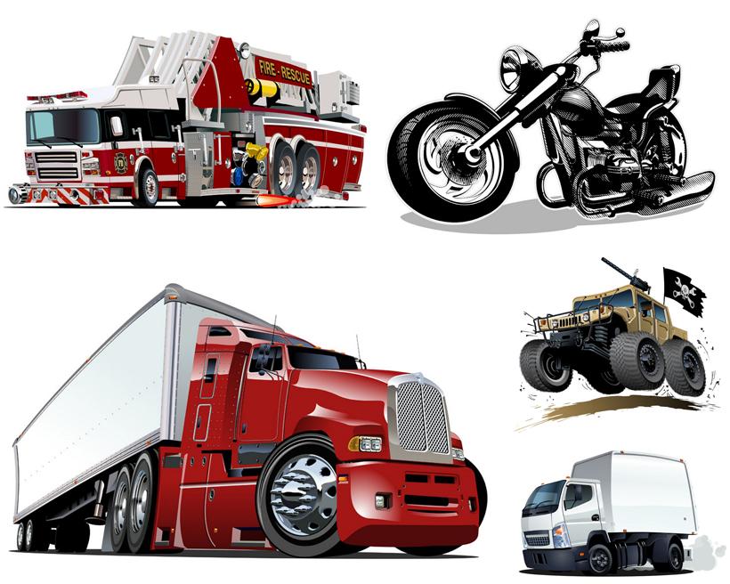 卡通越野车消防车汽车摩托车机车交通工具矢量卡通汽车货车卡通卡车