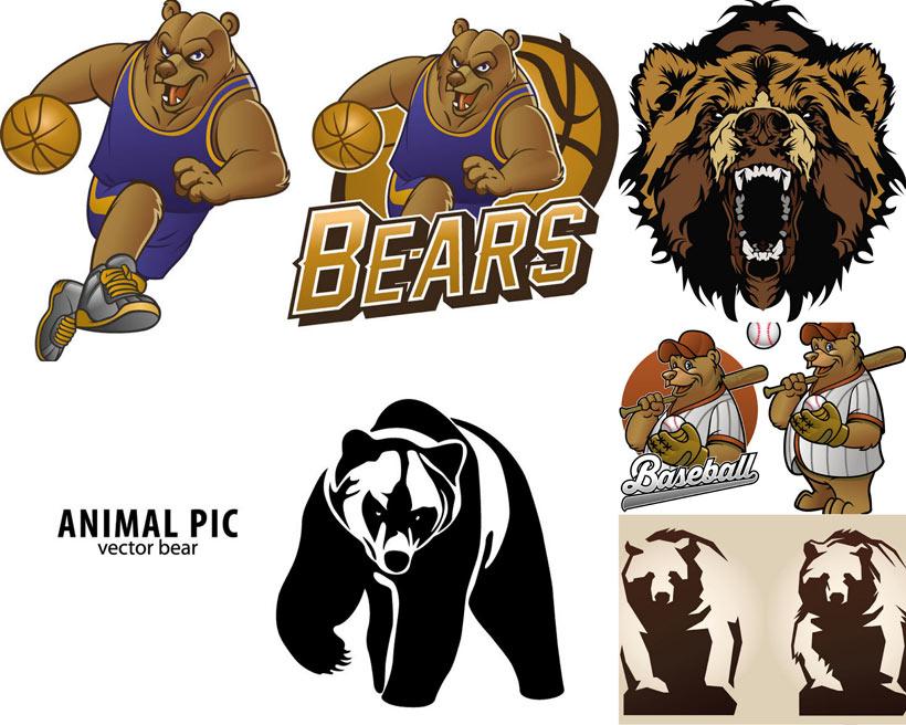 图标熊商标手绘熊矢量熊可爱熊熊标志动物标志运动