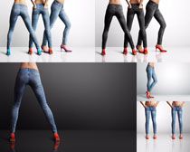 牛仔裤模特大腿摄影高清图片