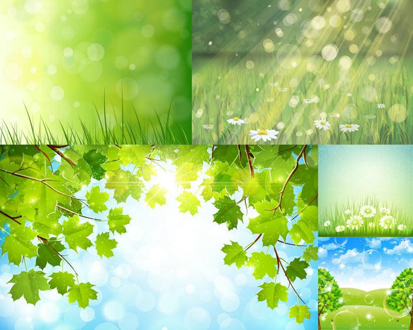 矢量素材绿色背景卡通鲜花草地背景春天
