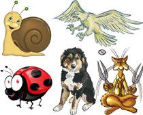卡通猫头鹰和蜗牛矢量素材