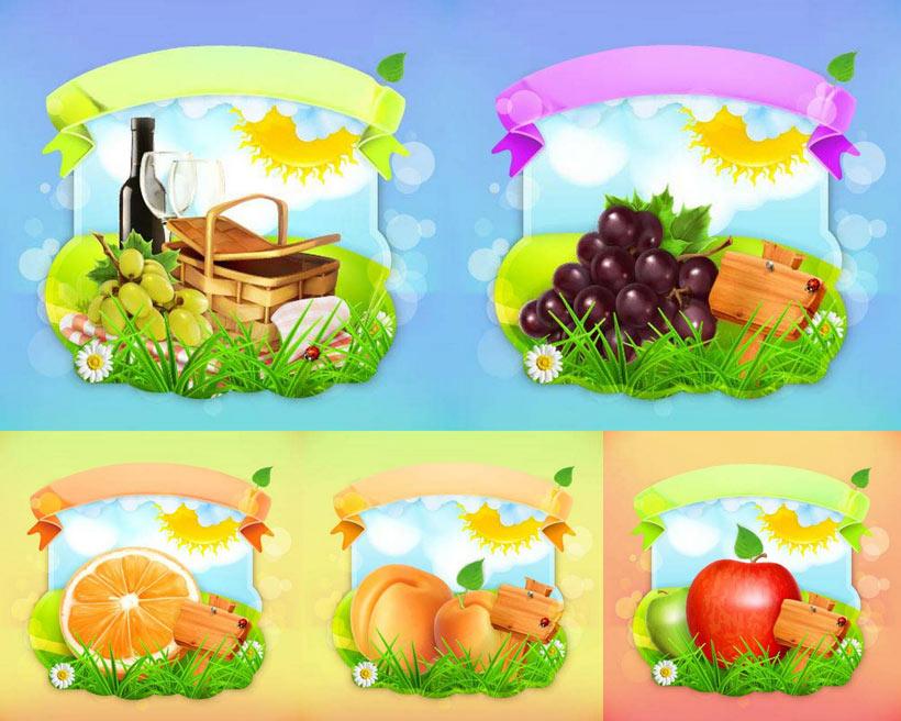 新鲜水果插画尺量素材
