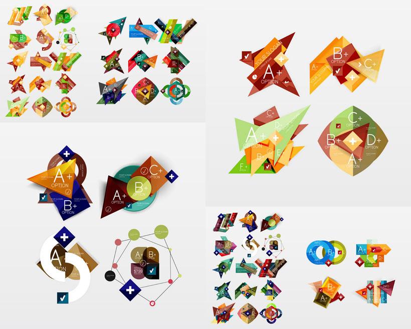 幾何圖形字母標簽矢量素材