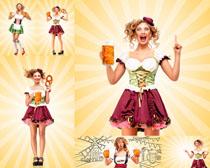 啤酒与女人摄影高清图片