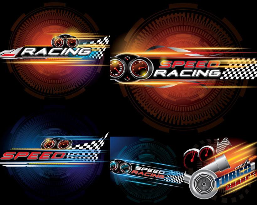 高速赛车海报矢量素材