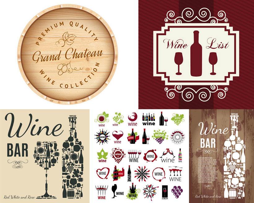 葡萄酒标签和海报设计矢量素材
