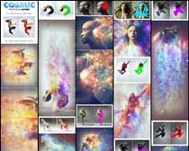 创意的宇宙星空拖影打散效果PS动作
