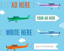 飞机横幅广告设计矢量素材