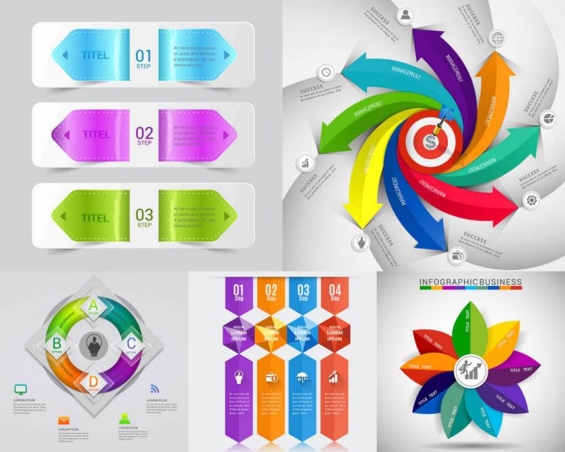 圆形 环形 多边形 叶子 形状 banner 流程图表 炫彩 时尚潮流 箭头