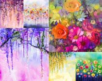 美麗的水墨花朵攝影高清圖片