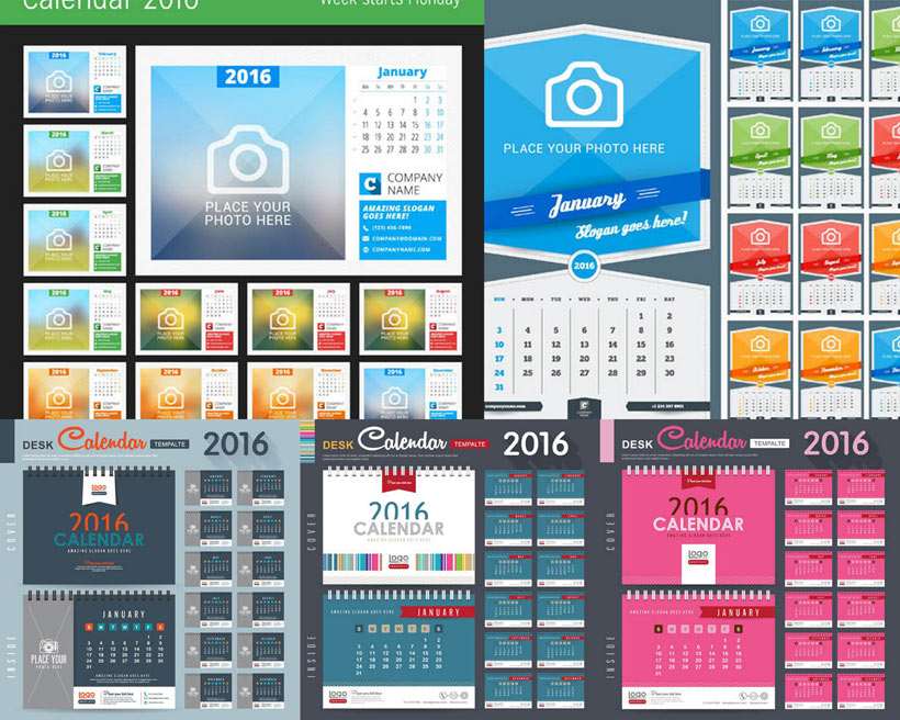 日历版式日历设计台历封面挂历设计相机标志广告设计