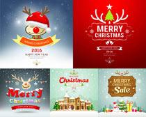 圣诞老人雪人圣诞帽矢量素材