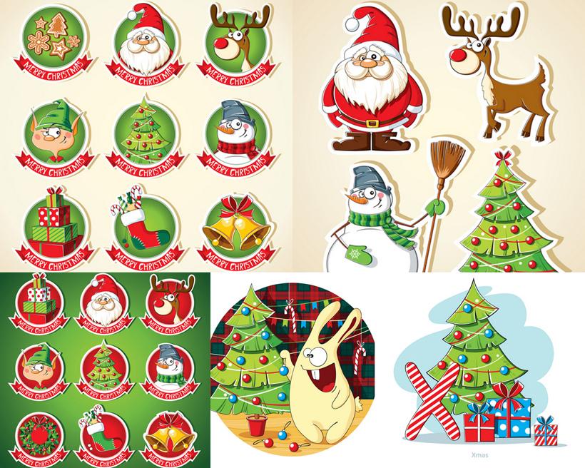 圣诞树兔子礼物盒矢量素材