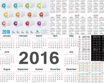 2016简约日历设计矢量素材