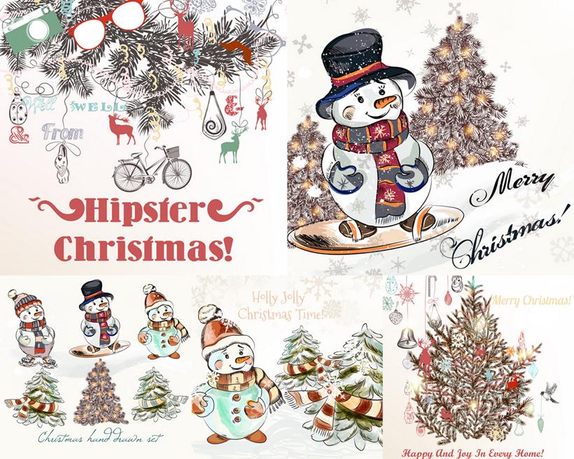 手绘圣诞树可爱眼镜自行车小鹿驯鹿滑雪铃铛雪地松树