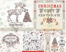 圣诞元素花纹边框矢量素材