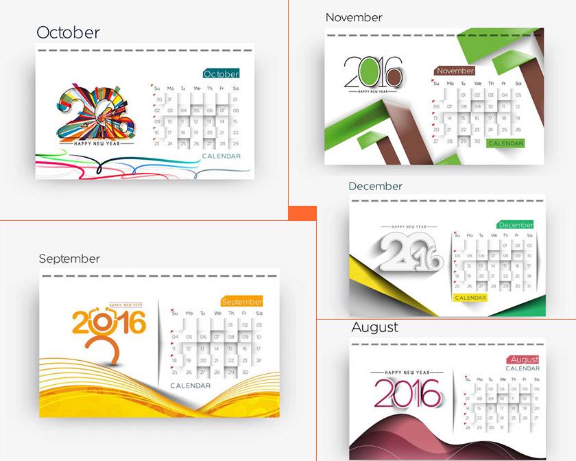 版式日历设计炫彩花纹水果几何圆形六边形日历素材