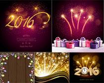 2016字体设计和烟花效果矢量素材