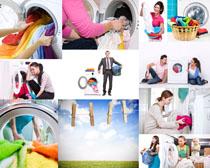 洗衣机与人物摄影高清图片