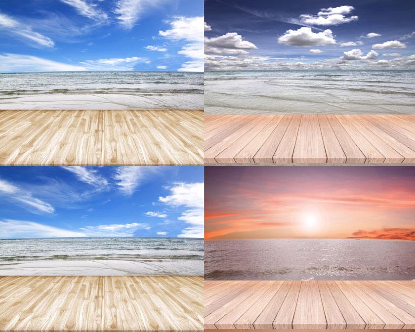 蓝天白云木板摄影高清图片,天空,云朵,蓝天,木板,风景,拍摄,大海