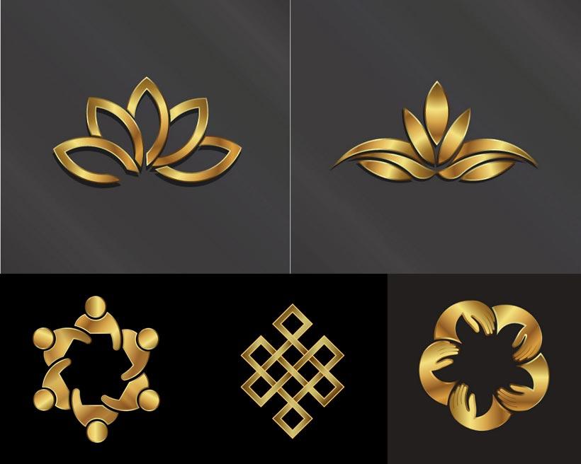 金色荷花LOGO设计矢量素材