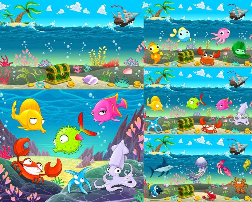 卡通海底世界矢量素材