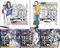 素描城市美女街拍矢量素材