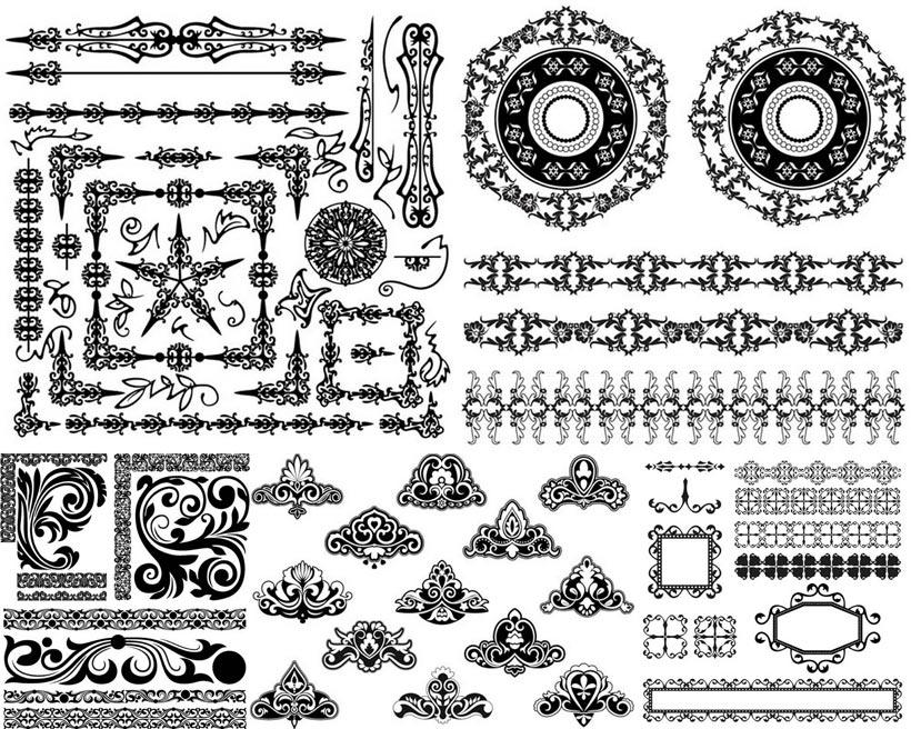黑白 黑色 花纹 花边 纹饰 装饰 边框 欧式 怀旧 复古 徽章 分割线