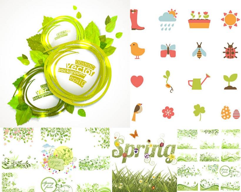 春天元素叶子花盘蜜蜂矢量素材图片