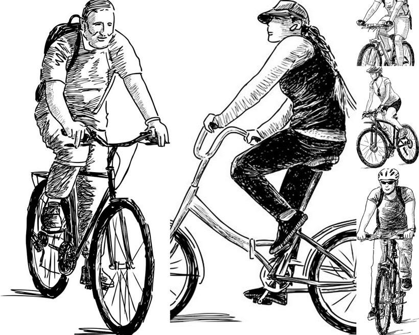 手绘素描自行车单车男人男性背包骑车绘画艺术头盔女