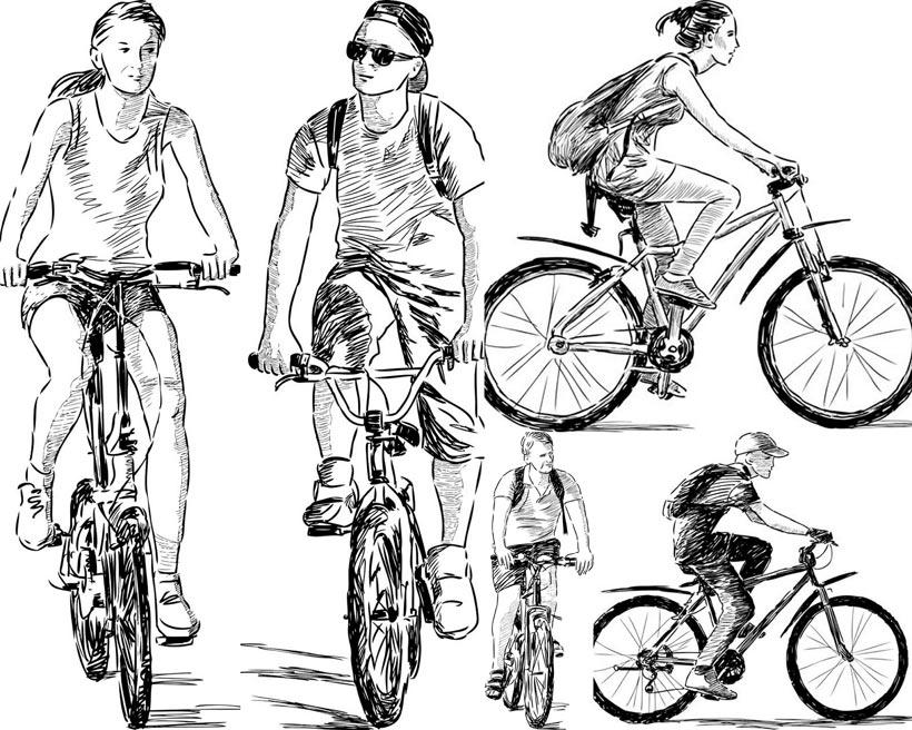 手绘素描自行车