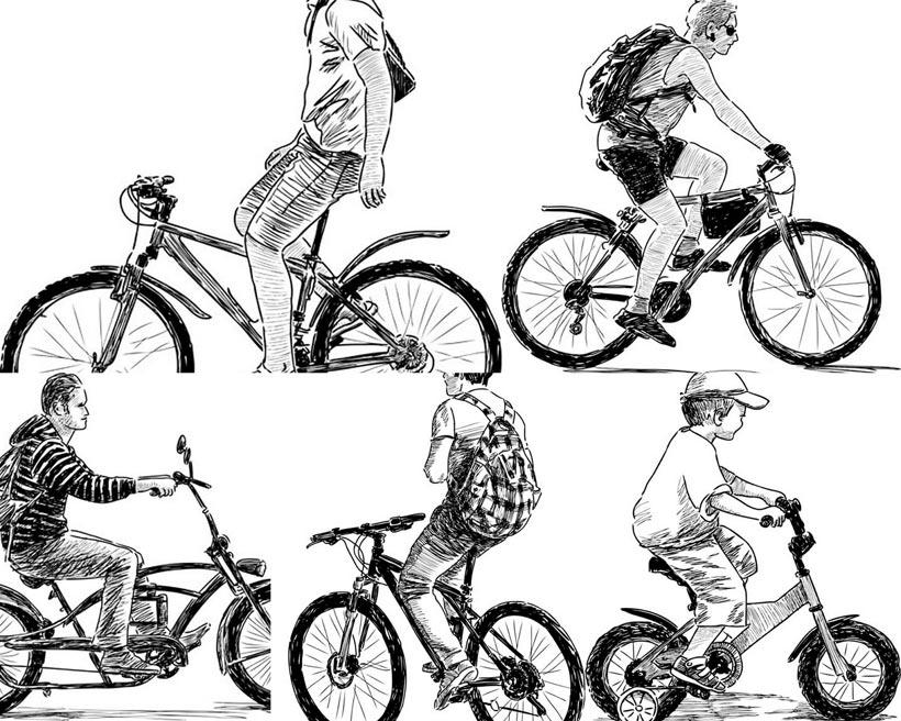 > 素材信息   关键字: 矢量素材矢量图设计素材人物手绘素描自行车
